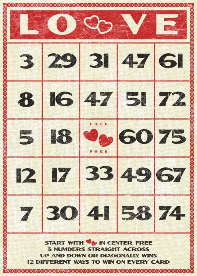 vintage love bingo card