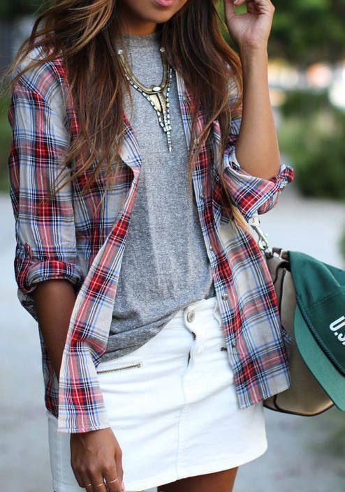plaid shirt-white-skirt
