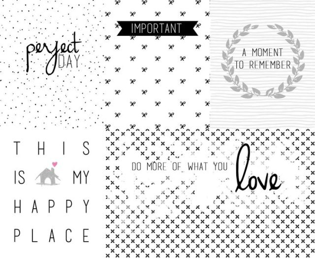 black-and-white journal-cards
